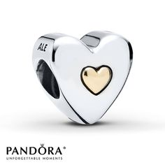 """With """"Happy Anniversary"""" inscribed on one side and a 14K yellow gold heart in the center of the other side, this heart-shaped sterling silver charm from the Pandora Mother's Day 2014 collection is perfect for gift-giving.  Style # 791290."""