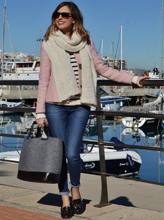 Love the cropped pink wool coat and the loafers!