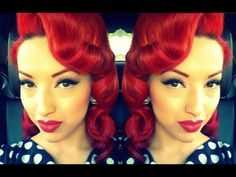 Retro Vintage Pin Curls Using A Clipless Iron or Curling Iron HD (16:07) - by PinupDollAshleyMarie | YouTube <3