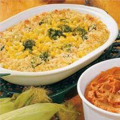 Broccoli Corn Bake Vegetable Sides, Vegetable Recipes, Vegetarian Recipes, Cooking Recipes, Healthy Recipes, Delicious Recipes, Broccoli And Corn Recipe, Broccoli Bake, Broccoli Cauliflower