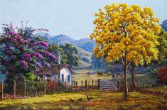 Ipê amarelo na porteira. Óleo sobre tela. Wilson Vicente (Cataguases, MG, Brasil, 1951 - ).