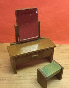 Vintage Dolls House Dol Toi Dressing Table & Stool