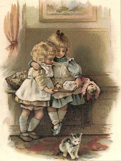 sweet little girls reading book w kitten pinafore dress lithograph vintage print