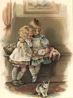 Sweet Little Girls Reading Book w Kitten pinafore dress lithograph vintage print