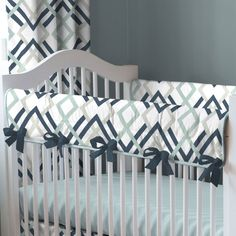 """Navy and Gray Geometric Crib Rail Cover with Piping 