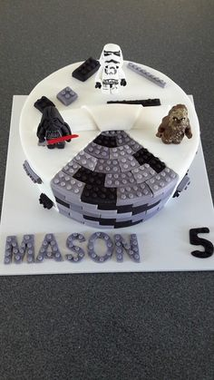 Star Wars Lego Cake - with Darth Vader, Storm Trooper and Chewbacca! Cake by Homemade By Hollie.