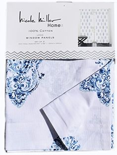 Nicole Miller Perrin Damask Medallions Pair of Curtains Set of 2 window panels 52 by 96-inch Pained Paisley indigo Blue Navy Turquoise White, http://www.amazon.com/dp/B01DWNFW9K/ref=cm_sw_r_pi_awdm_SuBAxbZ10XW9Z