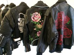 Epic 48 Awesome Leather Jackets For Women Why leather, you can wonder. A soft leather cleaner will be appropriate for doing it. Synthetic leather on the opposite hand is made of plastic Looks Style, Style Me, Painted Leather Jacket, Floral Leather Jacket, Embroidered Leather Jacket, Benz Amg, Diy Fashion, Womens Fashion, Painting Leather