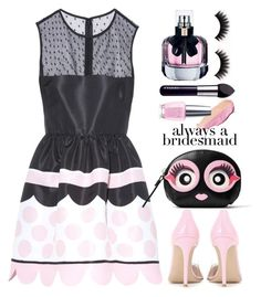 """""""REDValentino Polka-dot printed taffeta mini dress"""" by thestyleartisan ❤ liked on Polyvore featuring By Terry, RED Valentino, OPI, Gianvito Rossi, Yves Saint Laurent, Kate Spade and alwaysabridesmaid"""