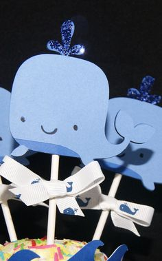 Whale Cupcake Toppers Blue Baby Shower Boy by LillabugsPartyPlace Whale Cupcakes, Baby Shower Cupcakes, Baby Shower Parties, Baby Shower Themes, Baby Boy Shower, Shower Ideas, Whale Birthday, Birthday Fun, Splash Party