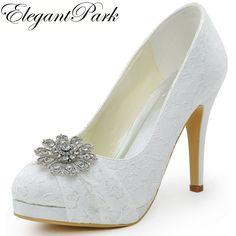 HC1413P Woman Wedding Shoes White High Heel Platform Closed Toe Rhinestones Pumps  Women s Bridal Shoes Lady a0a2b2adf301