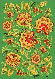 Folk Khokhloma painting from Russia. A floral pattern in green, golden, red and…