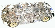 Four-Links – proto Mod Tops, garage-buried cutaway scale-model T Ford Gt40, Cutaway, Carroll Shelby, Car Drawings, Automotive Art, My Dream Car, Dream Cars, Rally Car, Print Pictures