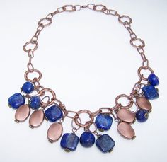 Lapis Lazuli beaded necklace copper toned beads and by beadhobby, $68.00