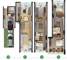 29 Trendy Ideas for apartment layout ideas floor plans tv shows Narrow House Plans, 3d House Plans, Small House Floor Plans, Apartment Layout, Apartment Plans, Modern Small House Design, Home Design Plans, Architecture Plan, House Layouts