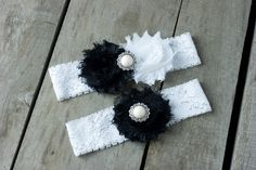 Black and White Wedding Garter Set, Bridal Garter, Wedding Garter, Victorian, Shabby Chic Garter on Etsy, $18.99