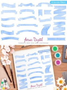 Blue Watercolor Ribbon Banners. Printables. $3.00