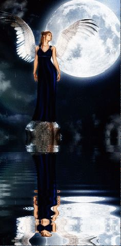 Water Animations - Oceans to Angels - Image 72 - Tranquil Waters - Fantasy Art Angels Among Us, Angels And Demons, Angel Images, I Believe In Angels, Amazing Gifs, Ange Demon, Angels In Heaven, Beautiful Moon, Guardian Angels