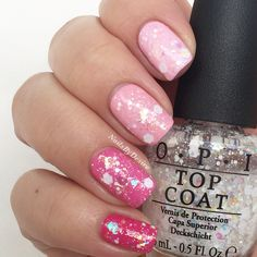 Opi Pink Ombre with Snow Globetrotter top coat