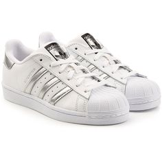Adidas Originals Superstar Leather Sneakers (2.970 UYU) ❤ liked on Polyvore featuring shoes, sneakers, adidas, shoes - sneakers, white, white shoes, leather shoes, genuine leather shoes, adidas originals sneakers and white trainers