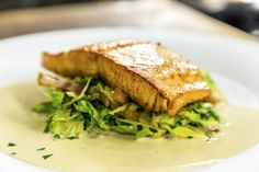 This Pan Fried Salmon with Bacon Brussels Sprouts is served with a wine and cream sauce. The sauce is versatile and can be used for chicken, fish or game. Fish Recipes, Seafood Recipes, New Recipes, Cooking Recipes, Easter Recipes, Cooking For Two, Cooking Stuff, Pan Fried Salmon, Great British Chefs