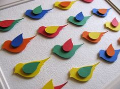 SALE Primary Colours  3D Birds on Textured by aboundingtreasures, $20.00