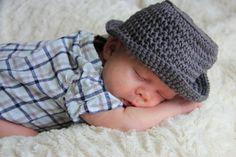 Newborn Gray Fedora Hat Newborn Baby Boy Hat Crochet Baby Hat, Newborn Photo Prop, Newborn Photography, Little Man Hat, Coming Home Outfit
