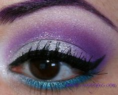 Too Faced Shadow Insurance Lemon Drop NYX White Eyeshadow Base (lid only) Sugarpill Tako on lid Ben Nye Amethyst in crease Tiny bit of Make Up For Ever #92 in crease to darken it Urban Decay 24/7 Shadow Pencil in Clash on lower lashline Stila Jewel Eyeshadow in Aquamarine over Clash Too Faced Glamour Dust in Blue Angel on lid, applied over a dab of Fyrinnae Pixie Epoxy Physicians Formula Eye Booster Eyeliner in Black Stila Jewel Eyeshadow in Opal on browbone