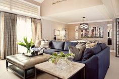Blue Sectional Couch For Living Rooms Modern Navy Blue Sectional Sofa Design Ideas, Pictures, Remodel, and Decor Blue Couch Living Room, Living Room Sectional, Small Living Rooms, Living Room Designs, Living Room Decor, Sectional Sofa, Couch Pillows, Dining Room, Modern Living