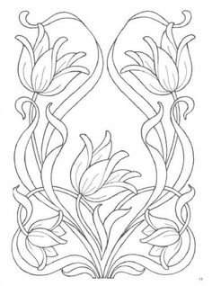 Coloring floral art nouveau designs