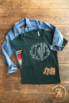 The Daydreamer - saguaro cactus and coyote emerald green graphic tee from Savannah Sevens Western Chic