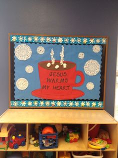 Winter bulletin board-Jesus warms my heart Religious Bulletin Boards, Bible Bulletin Boards, Christian Bulletin Boards, Winter Bulletin Boards, Preschool Bulletin Boards, Bullentin Boards, January Bulletin Board Ideas, Winter Bulliten Board Ideas, Sunday School Rooms