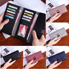 Women Colorful Foldable PU Leather Clutch Bag Wallet Card Holder Purse Phone Cash Storage Bag Sale