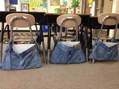 Repurposed Jeans Made into Chair Pockets :)