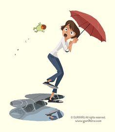c08ca7abc6168 umbrellas.quenalbertini: Rain and frogs Frog Illustration, Comic Character,  Female Character Design
