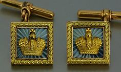 Antique gold and guilloche enamel   Russian Imperial Crown cufflinks by Faberge