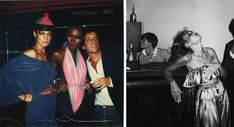 Scenes from Studio 54: Left, an Andy Warhol polaroid featuring Grace Jones (center), and right, a reveler captured by Tod Papageorge, both circa late 1970s.