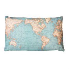 Around the World Map Cushion
