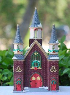 """Dept 56 Original Christmas Snow Village #54216 """"ST. LUKE'S CHURCH"""" Retired"""