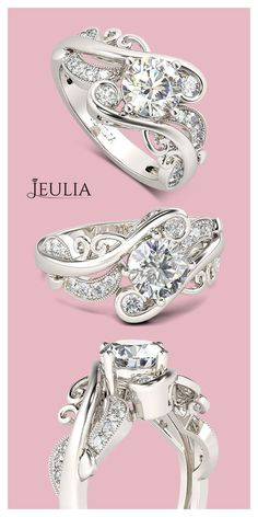 Vines Round Cut Created White Sapphire Engagement Ring #Jeulia