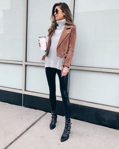 grey turtleneck sweater with blanknyc coffee bean suede moto jacket faux leather leggings and steve madden hattie bootie Casual Leggings Outfit, Legging Outfits, Leder Outfits, Leather Jacket Outfits, Casual Outfits, Girly Outfits, Outfits With Turtlenecks, Black Jacket Outfit, Suede Moto Jacket