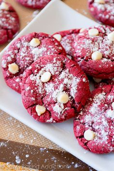 Red Velvet Cake Mix Crinkle Cookies with white chocolate chips - ready in 30 minutes! (recipe at bottom)
