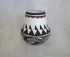 Native American Acoma Pueblo Sky City Paint Decorated Pottery Jar Sign – Rogue's Estate Jewelry & Antiques