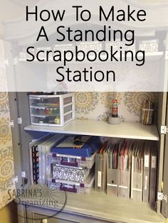 Standing scrapbooking station is useful for those quick scrapbooking sessions. Here is how I made my station to save me time and money.