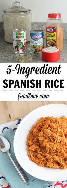 - This quick and easy Spanish Rice is a perfect side dish for any Mexican or Spanish dinner. Made with only 5 (or 6) ingredients, it's simple and delicious.