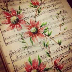 Flower on sheet music - painting by Noel Chapman McKelvy Painting Sheets, Music Painting, Music Artwork, Artwork Paintings, Tole Painting, Sheet Music Crafts, Sheet Music Art, Music Sheets, Music Flower