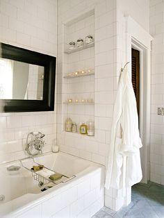 Mirror, tiled walls, shelving