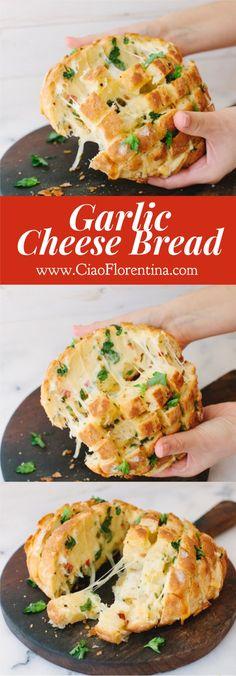 Garlic Cheese Bread Recipe ( Easy Cheesy Garlic Pull Apart Bread ) | CiaoFlorentina.com @CiaoFlorentina