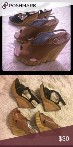 Jessica Simpson tan AND black wood/cork wedges Jessica Simpson tan Bamboo design wedges sz 36 AND black wood/cork design sz 5. Offers welcome. Having a moving 📦 sale everything must go 🎀 Bundling for cheap so that my stuff goes to a good home 🏡 leather near right buckle has torn, but material underneath is strong & still connected. You can't see tear under upper leather piece. Please see photos Jessica Simpson Shoes Wedges