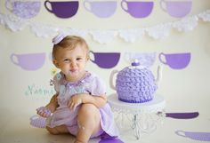 tea party cake smash one year photo shoot Naomi Bluth Photography